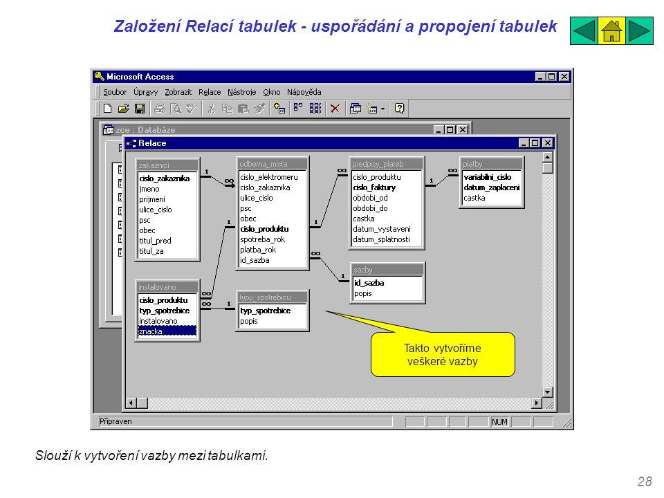 Založení Relací tabulek - uspořádání a propojení tabulek