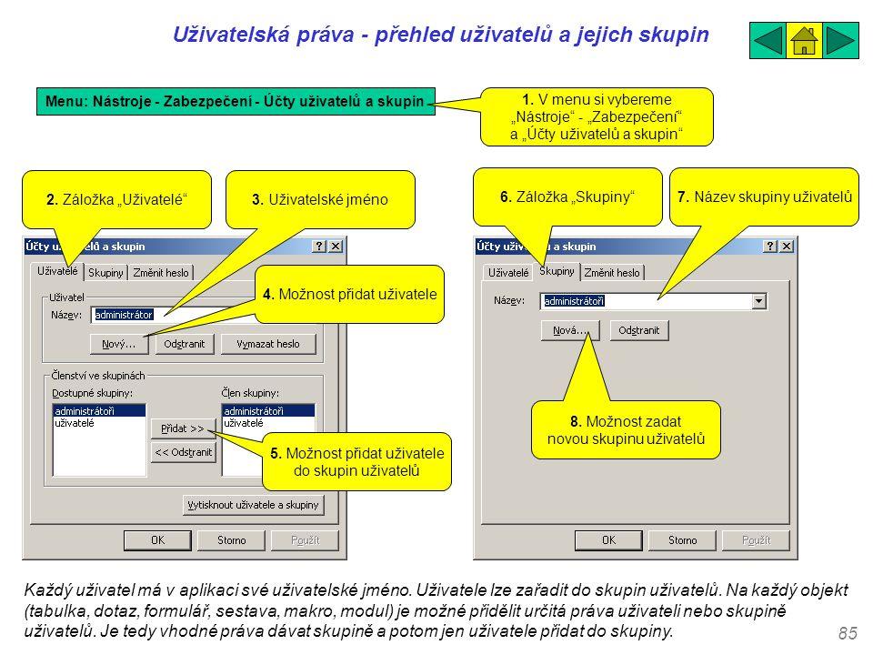 Uživatelská práva - přehled uživatelů a jejich skupin