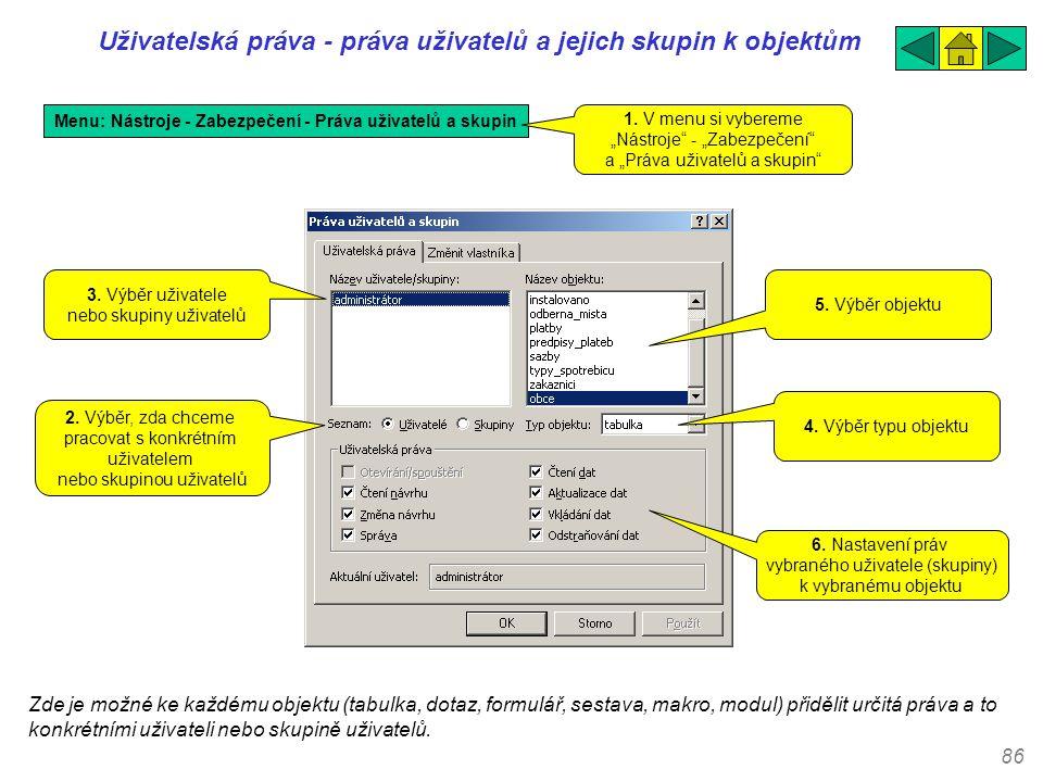 Uživatelská práva - práva uživatelů a jejich skupin k objektům .