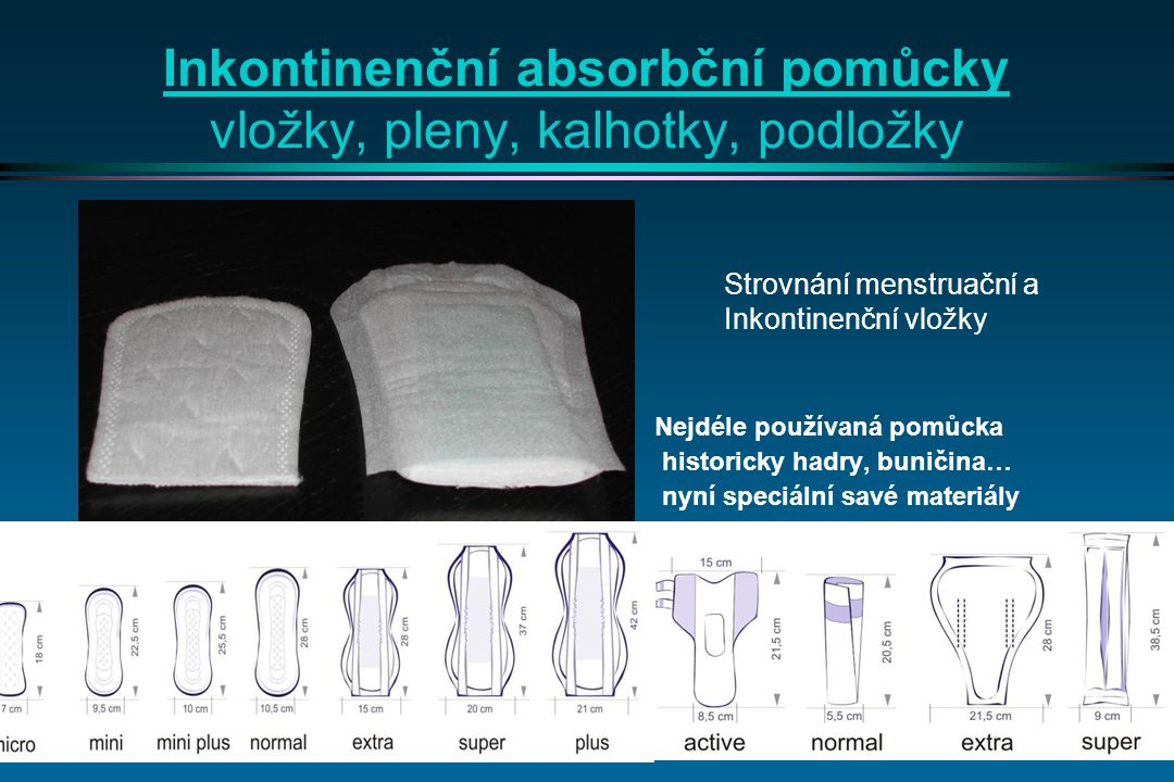Inkontinenční absorbční pomůcky vložky, pleny, kalhotky, podložky
