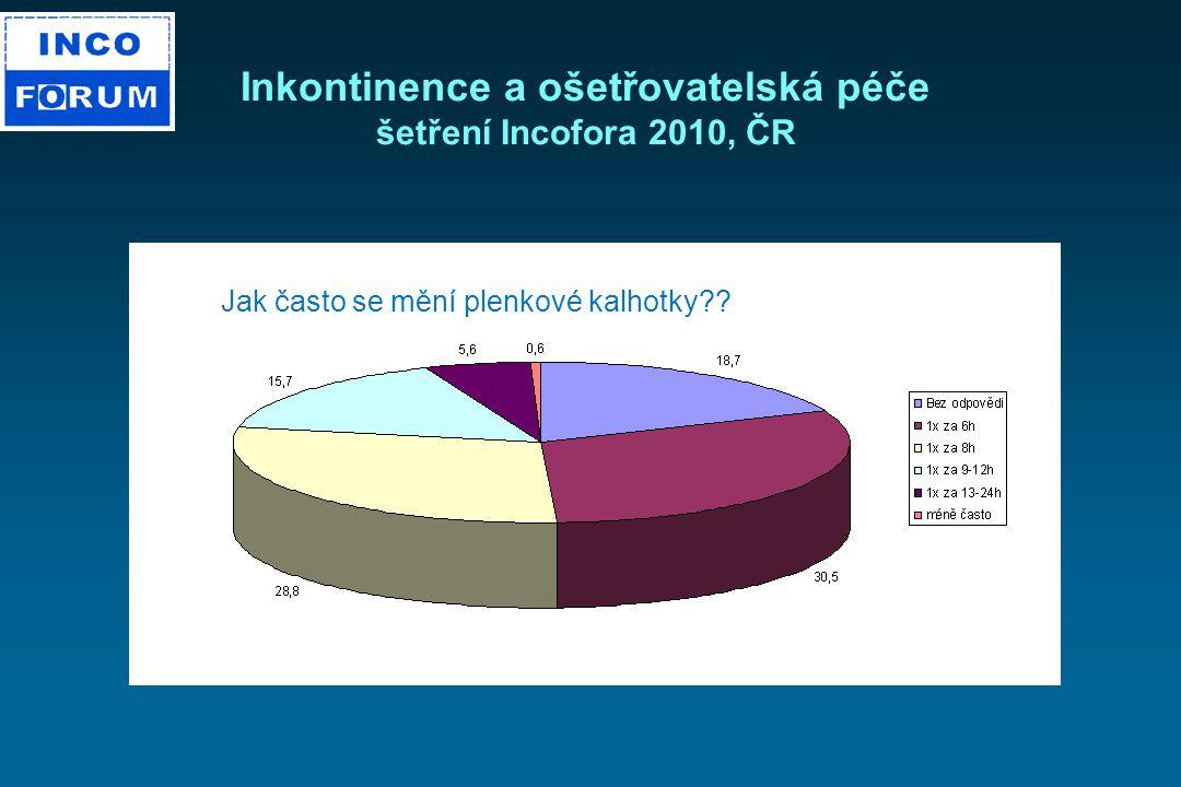 Inkontinence a ošetřovatelská péče šetření Incofora 2010, ČR