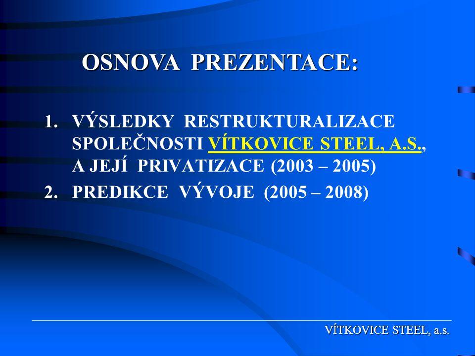 OSNOVA PREZENTACE: VÝSLEDKY RESTRUKTURALIZACE SPOLEČNOSTI VÍTKOVICE STEEL, A.S., A JEJÍ PRIVATIZACE (2003 – 2005)