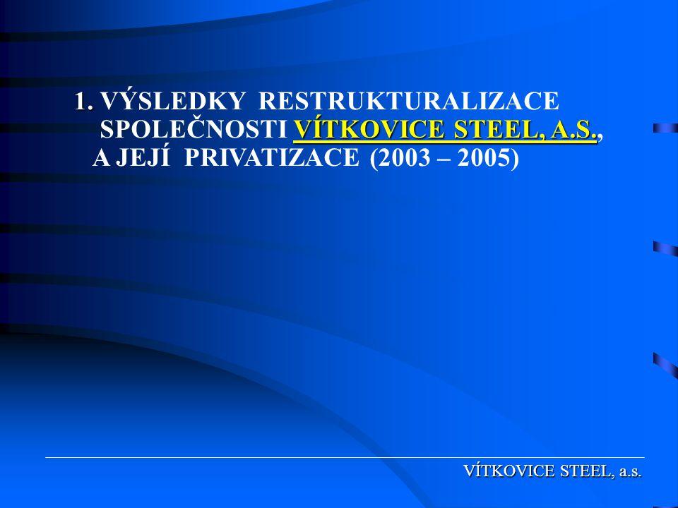 1. VÝSLEDKY RESTRUKTURALIZACE SPOLEČNOSTI VÍTKOVICE STEEL, A. S