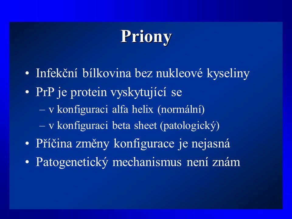 Priony Infekční bílkovina bez nukleové kyseliny