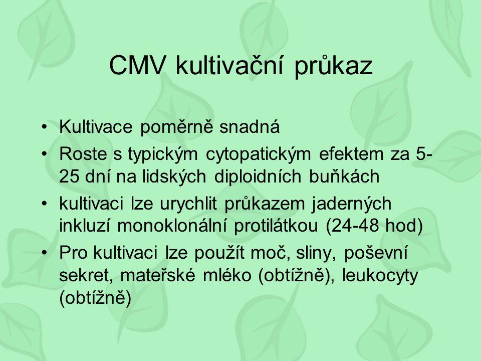 CMV kultivační průkaz Kultivace poměrně snadná