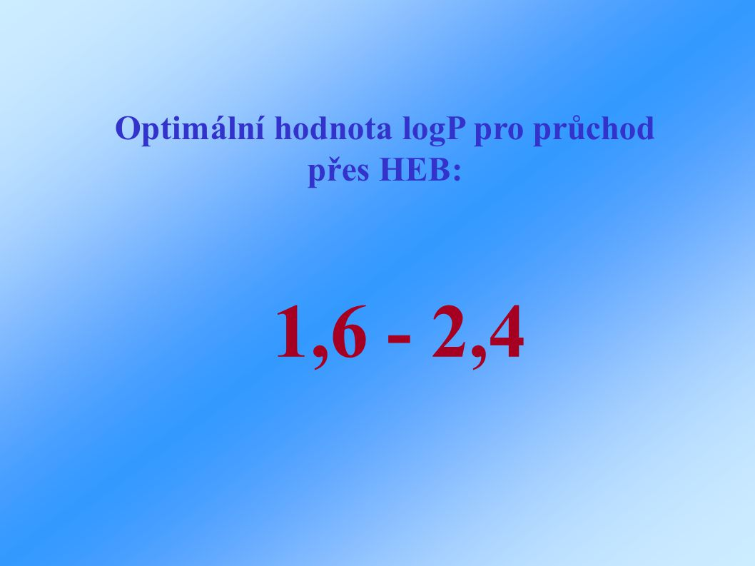 Optimální hodnota logP pro průchod přes HEB: