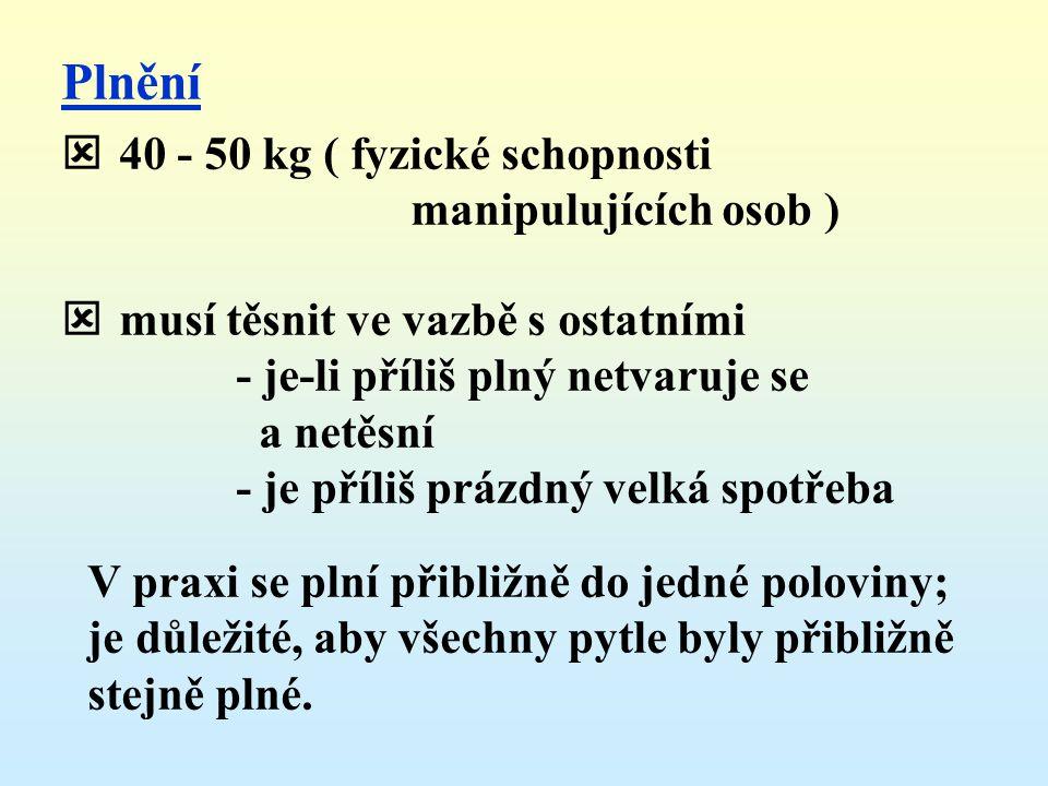 Plnění 40 - 50 kg ( fyzické schopnosti manipulujících osob )