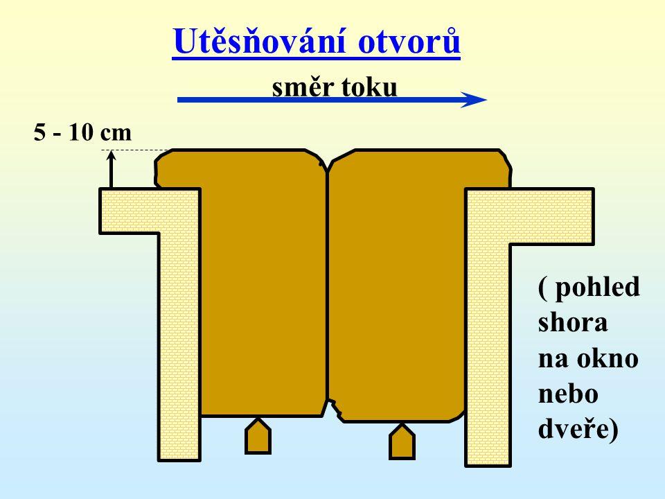 Utěsňování otvorů směr toku ( pohled shora na okno nebo dveře)