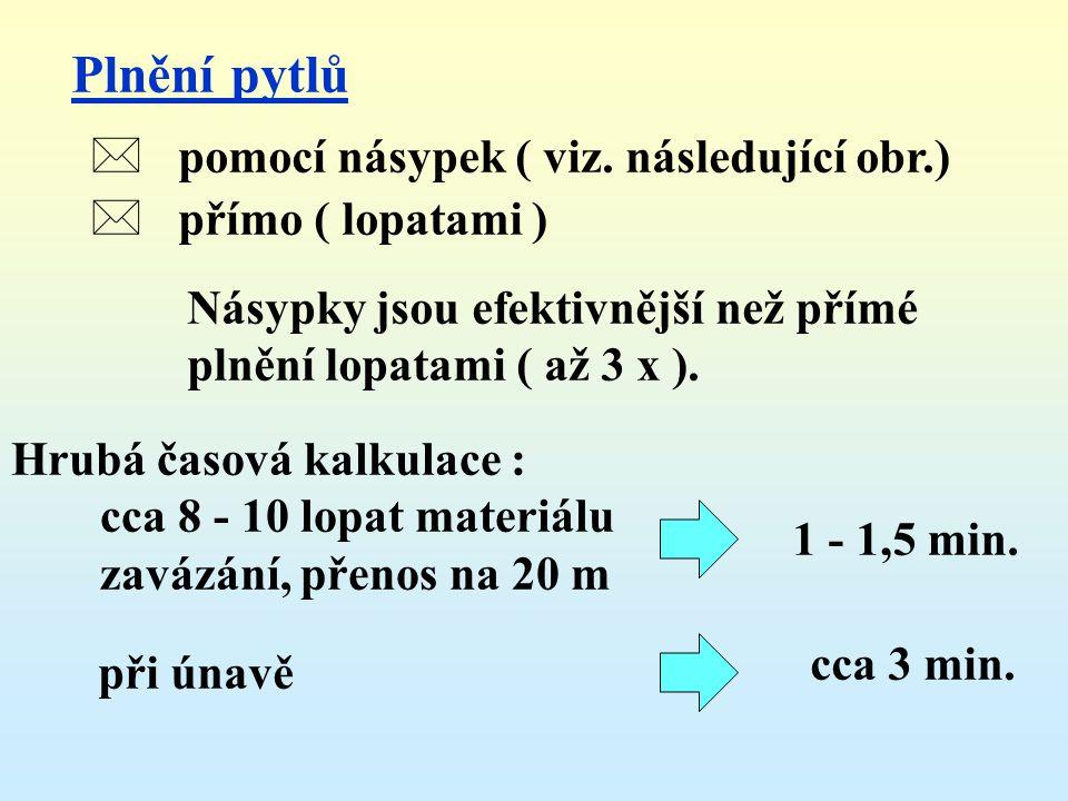 Plnění pytlů pomocí násypek ( viz. následující obr.)