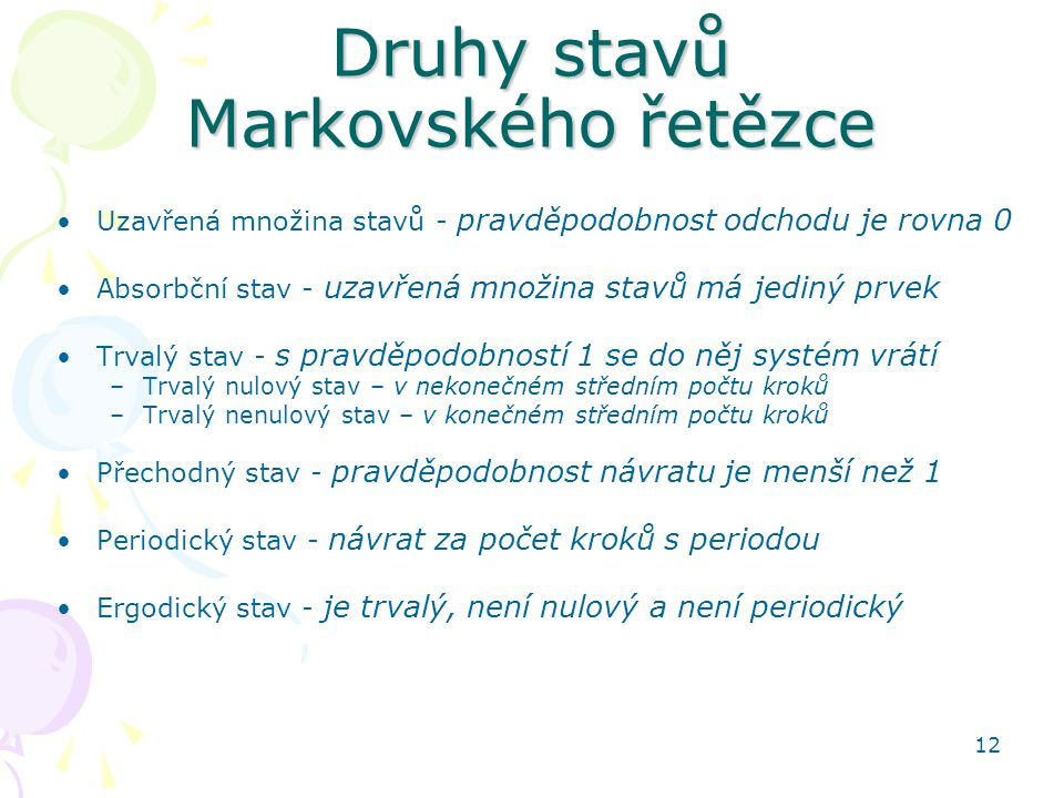 Druhy stavů Markovského řetězce