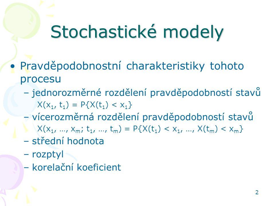 Stochastické modely Pravděpodobnostní charakteristiky tohoto procesu