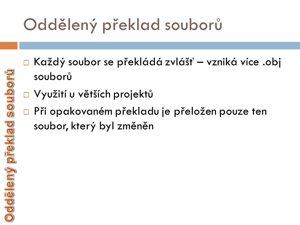 Oddělený překlad souborů