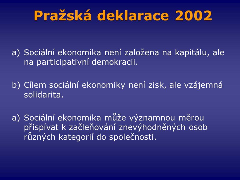 Pražská deklarace 2002 Sociální ekonomika není založena na kapitálu, ale na participativní demokracii.