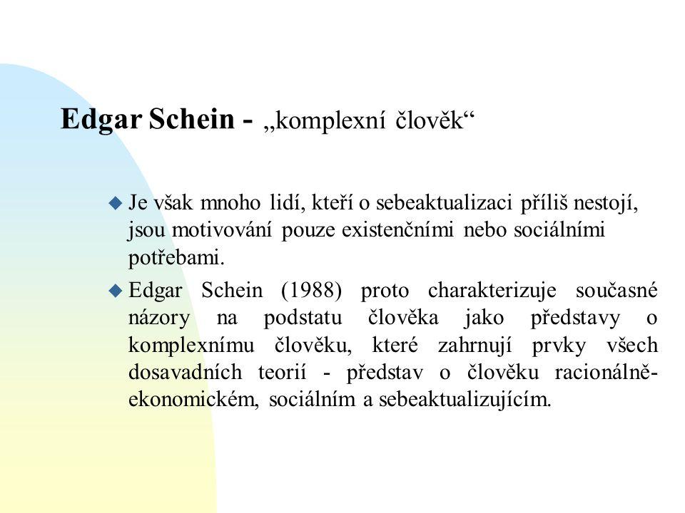 """Edgar Schein - """"komplexní člověk"""