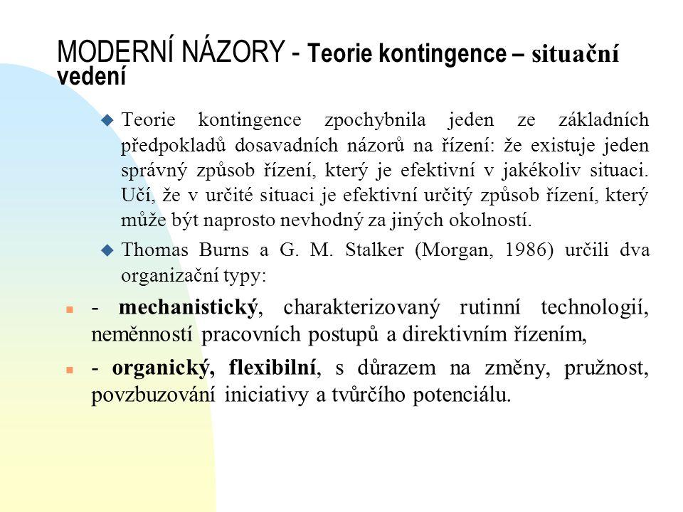 MODERNÍ NÁZORY - Teorie kontingence – situační vedení