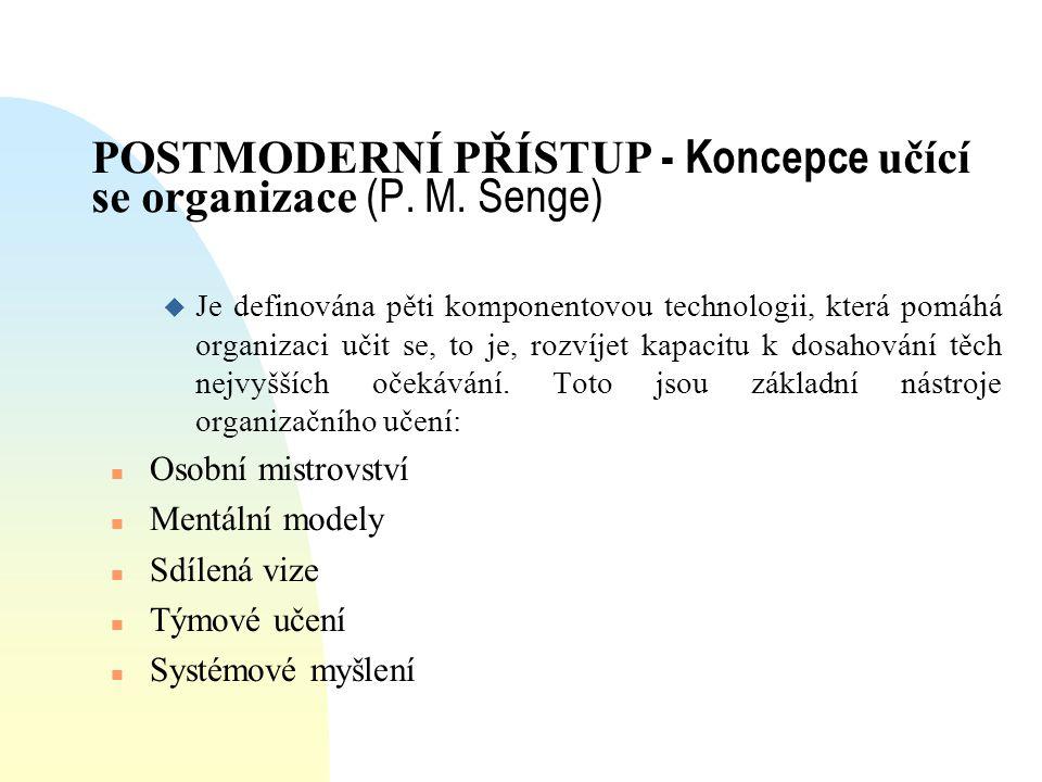 POSTMODERNÍ PŘÍSTUP - Koncepce učící se organizace (P. M. Senge)