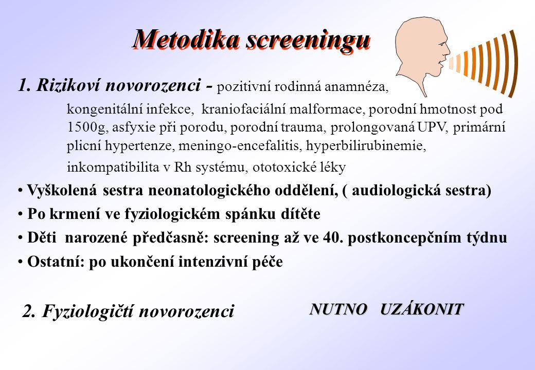 Metodika screeningu 1. Rizikoví novorozenci - pozitivní rodinná anamnéza,