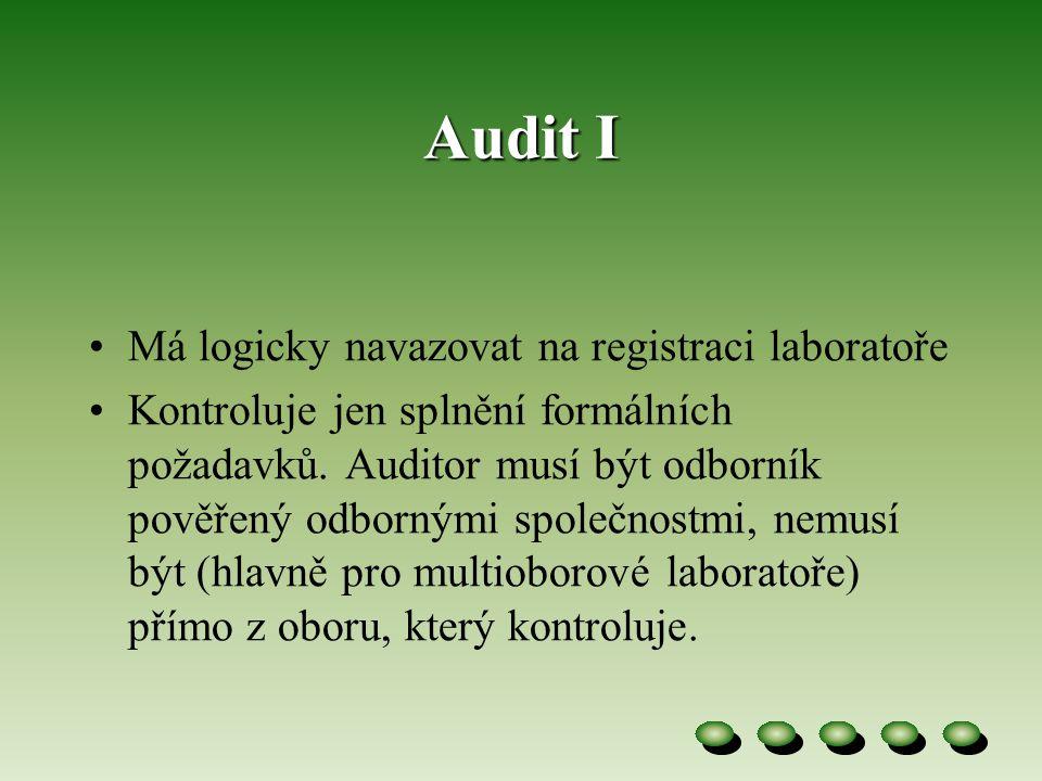Audit I Má logicky navazovat na registraci laboratoře