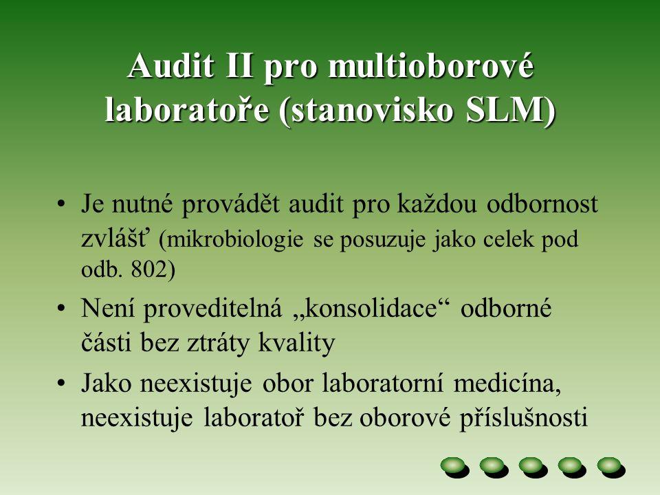 Audit II pro multioborové laboratoře (stanovisko SLM)