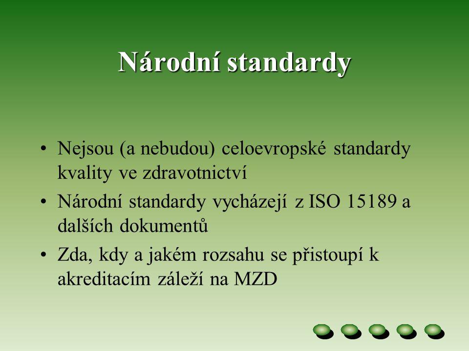 Národní standardy Nejsou (a nebudou) celoevropské standardy kvality ve zdravotnictví. Národní standardy vycházejí z ISO 15189 a dalších dokumentů.