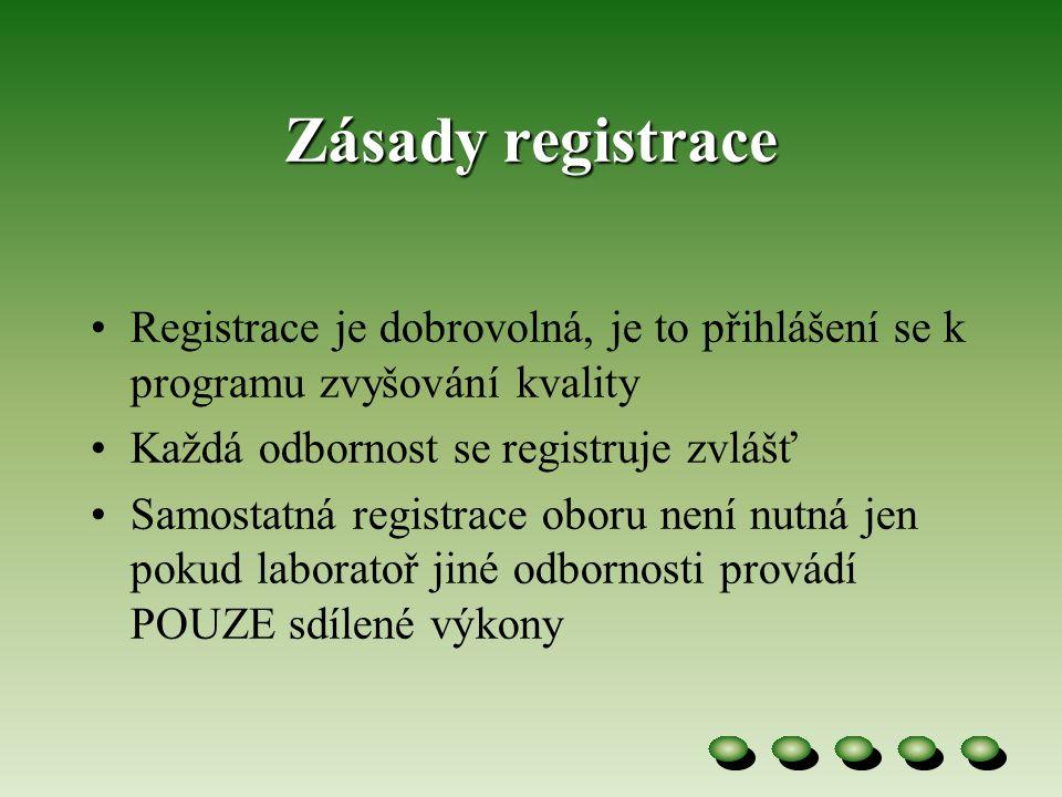Zásady registrace Registrace je dobrovolná, je to přihlášení se k programu zvyšování kvality. Každá odbornost se registruje zvlášť.