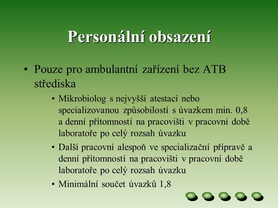 Personální obsazení Pouze pro ambulantní zařízení bez ATB střediska