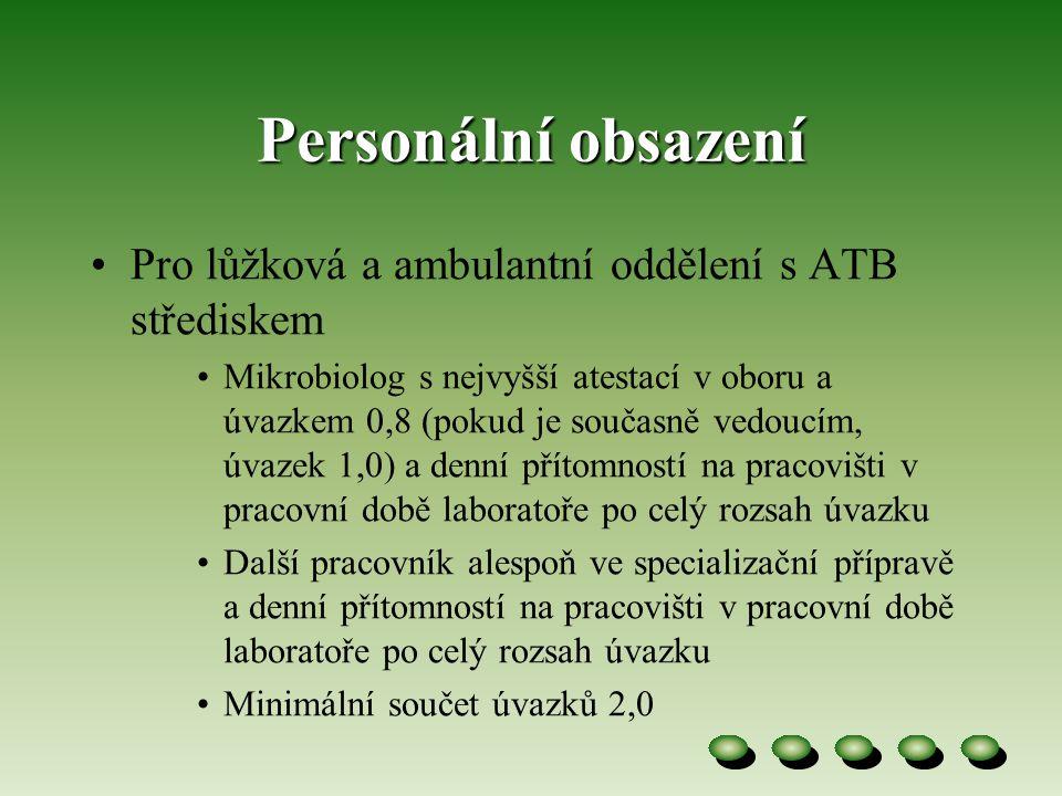 Personální obsazení Pro lůžková a ambulantní oddělení s ATB střediskem