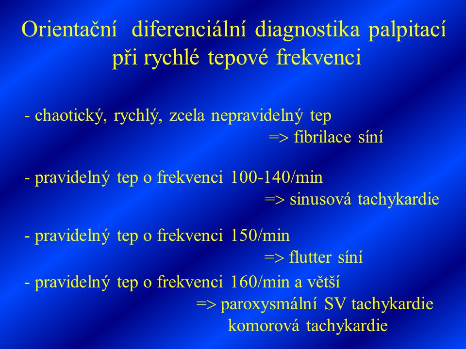 Orientační diferenciální diagnostika palpitací