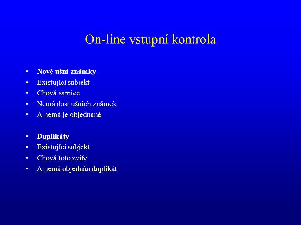 On-line vstupní kontrola