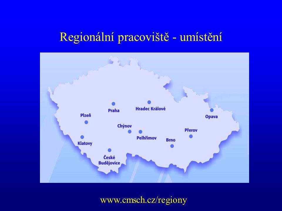 Regionální pracoviště - umístění