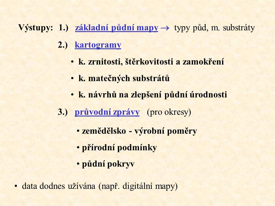 Výstupy: 1.) základní půdní mapy  typy půd, m. substráty