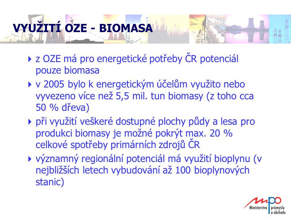 VYUŽITÍ OZE - BIOMASA z OZE má pro energetické potřeby ČR potenciál pouze biomasa.