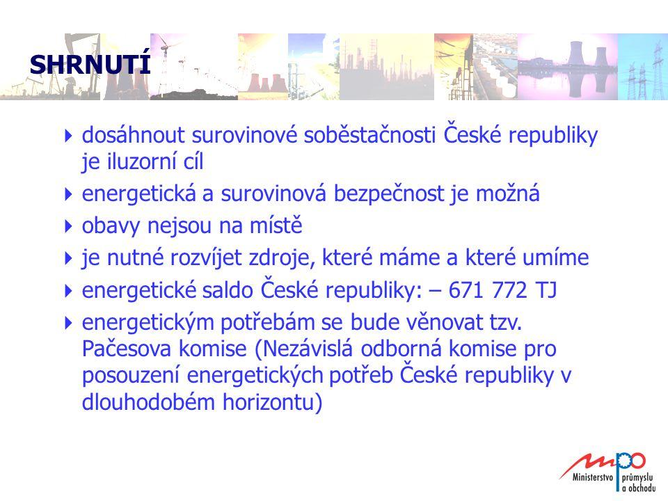 SHRNUTÍ dosáhnout surovinové soběstačnosti České republiky je iluzorní cíl. energetická a surovinová bezpečnost je možná.