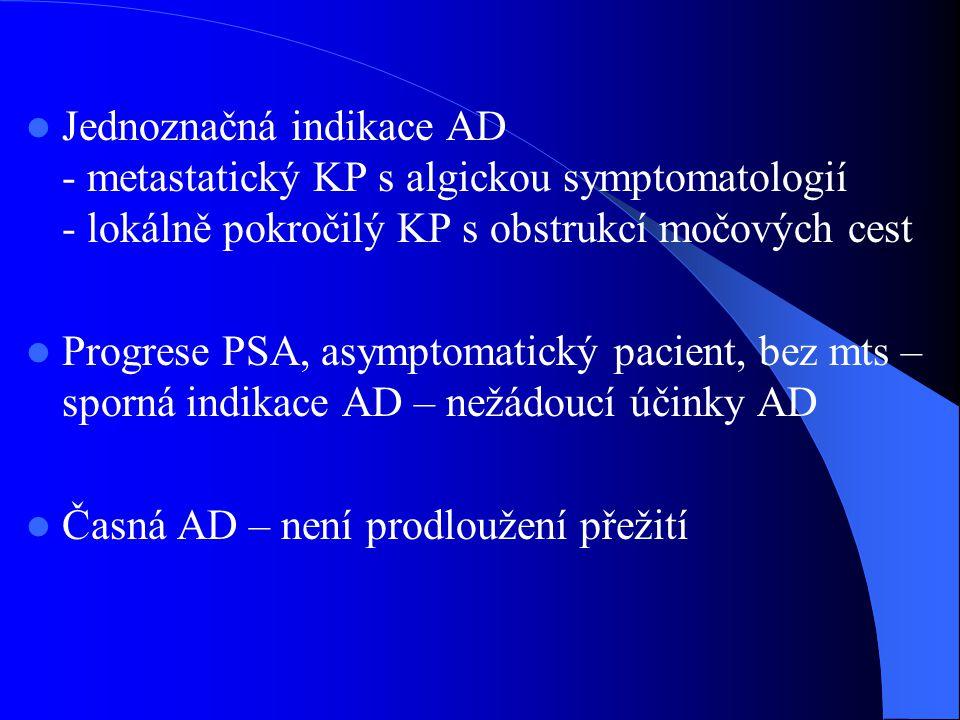 Jednoznačná indikace AD - metastatický KP s algickou symptomatologií - lokálně pokročilý KP s obstrukcí močových cest