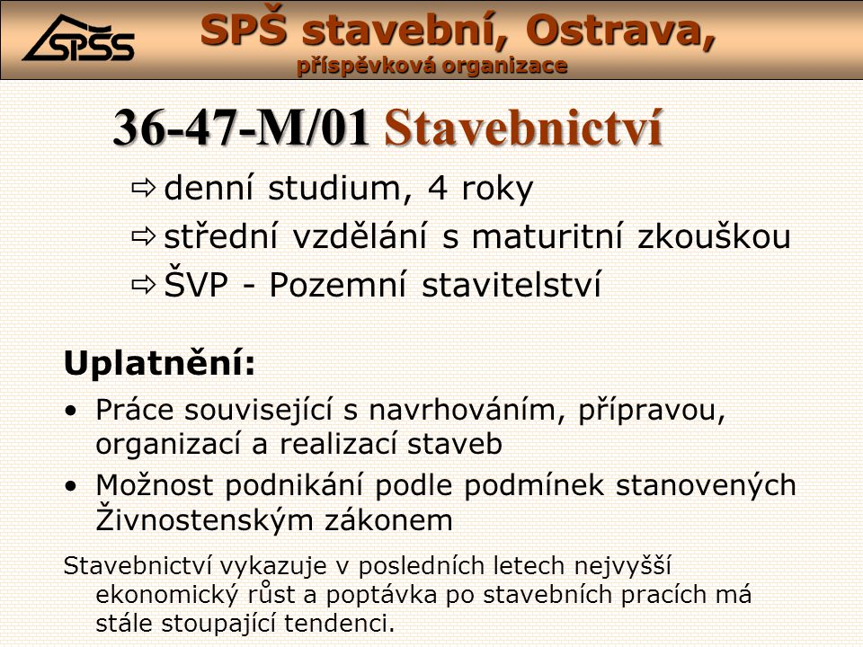 36-47-M/01 Stavebnictví denní studium, 4 roky