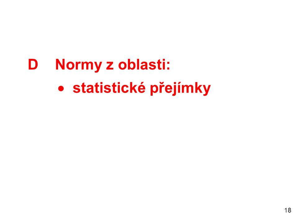 D Normy z oblasti:  statistické přejímky