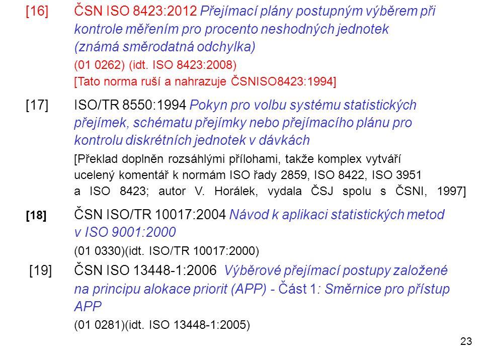 (známá směrodatná odchylka) (01 0262) (idt. ISO 8423:2008)