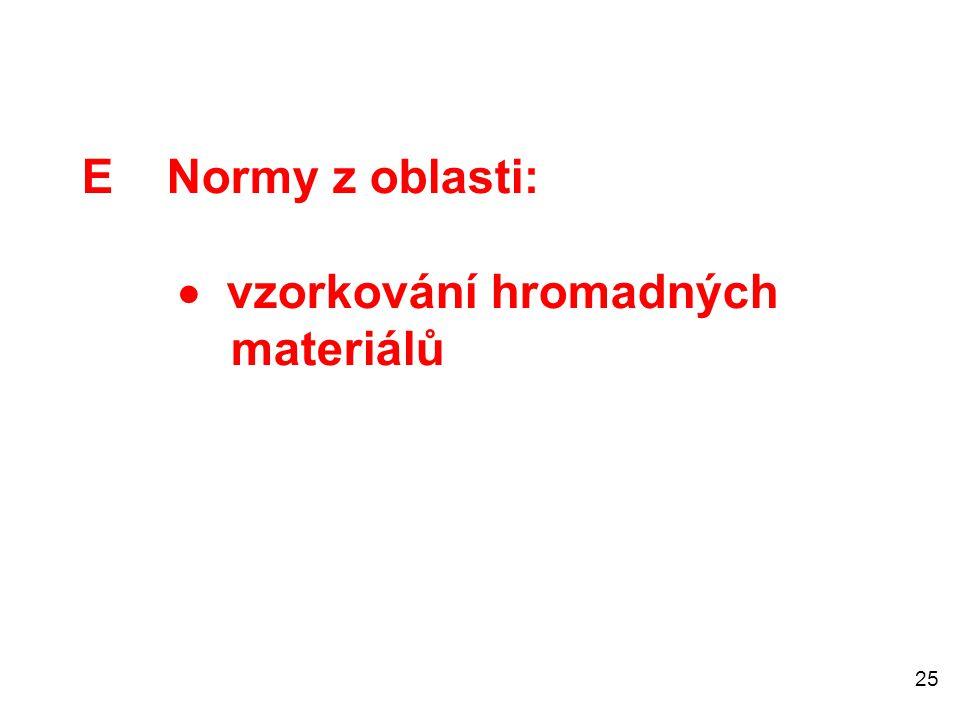 E Normy z oblasti:  vzorkování hromadných materiálů