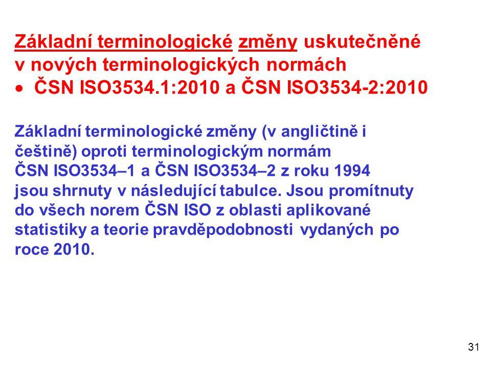 Základní terminologické změny uskutečněné v nových terminologických normách  ČSN ISO3534.1:2010 a ČSN ISO3534-2:2010 Základní terminologické změny (v angličtině i češtině) oproti terminologickým normám ČSN ISO3534–1 a ČSN ISO3534–2 z roku 1994 jsou shrnuty v následující tabulce.
