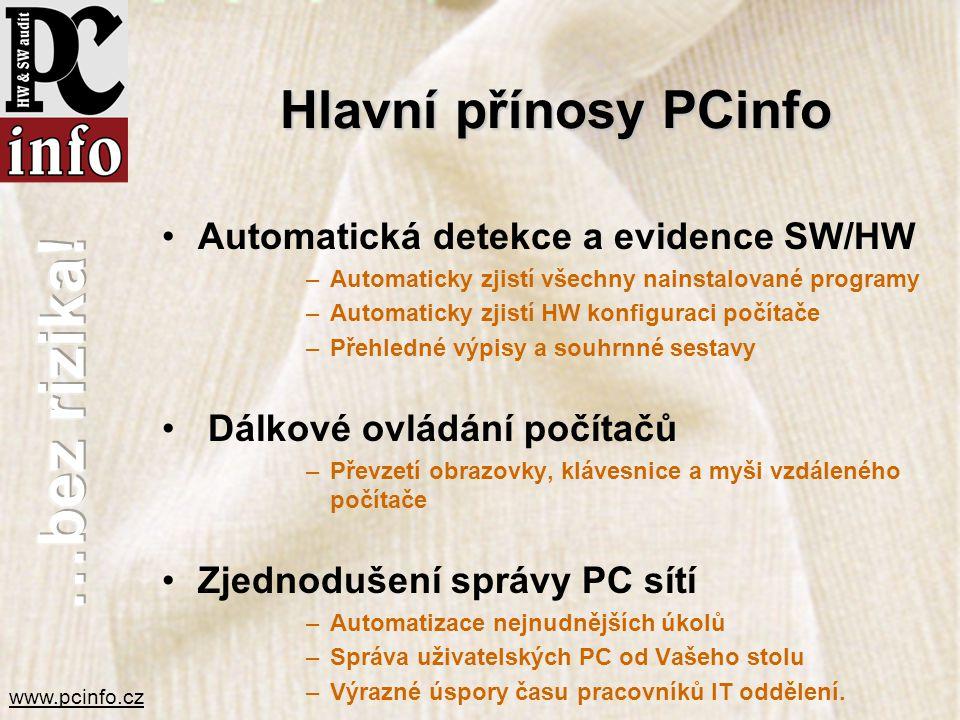 Hlavní přínosy PCinfo Automatická detekce a evidence SW/HW