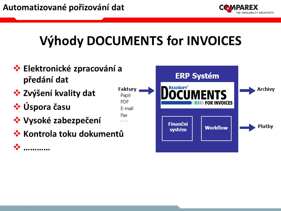 Výhody DOCUMENTS for INVOICES