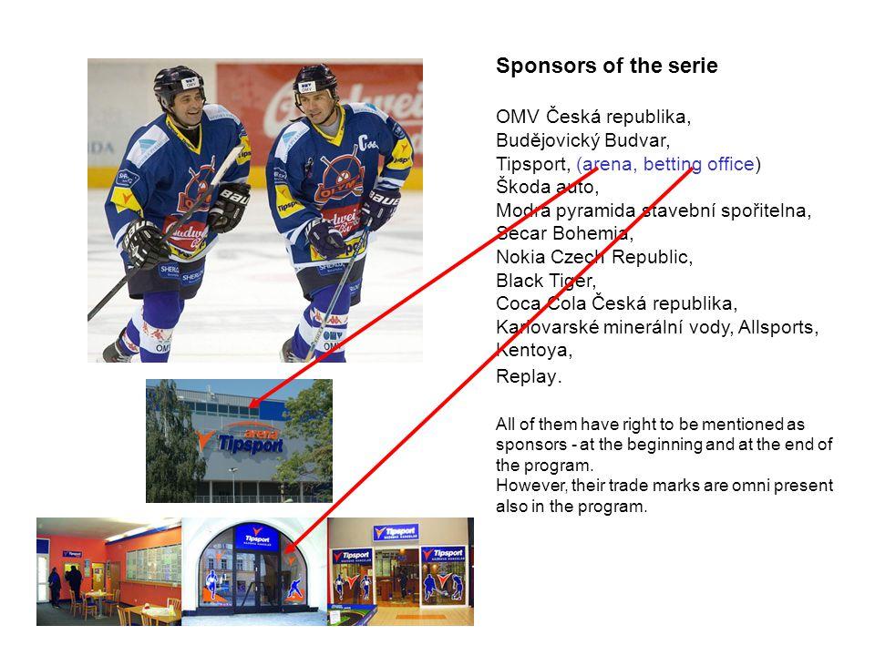 Sponsors of the serie OMV Česká republika, Budějovický Budvar,