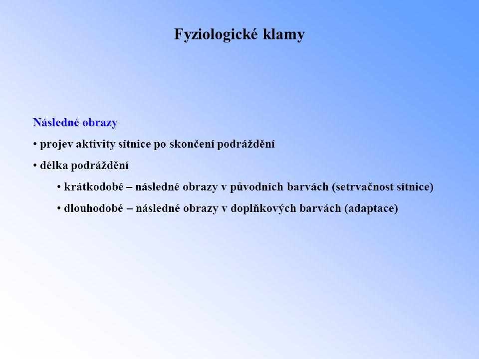 Fyziologické klamy Následné obrazy