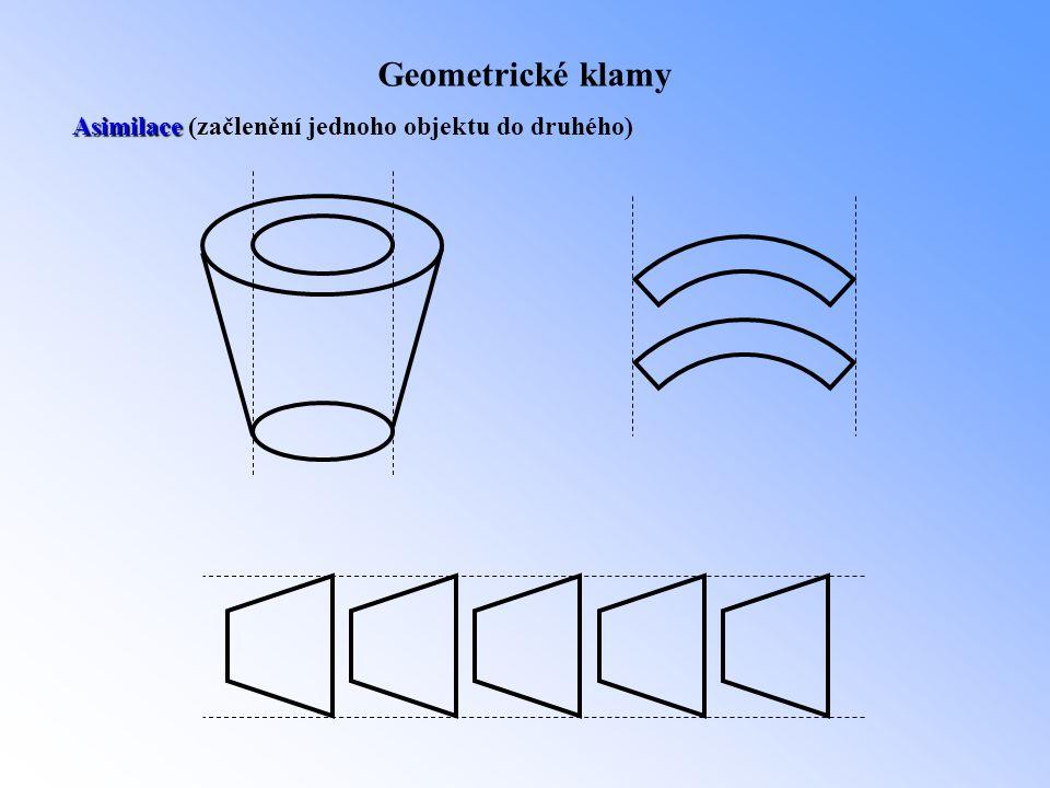Geometrické klamy Asimilace (začlenění jednoho objektu do druhého)