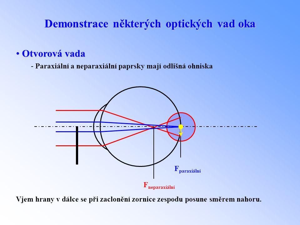 Demonstrace některých optických vad oka