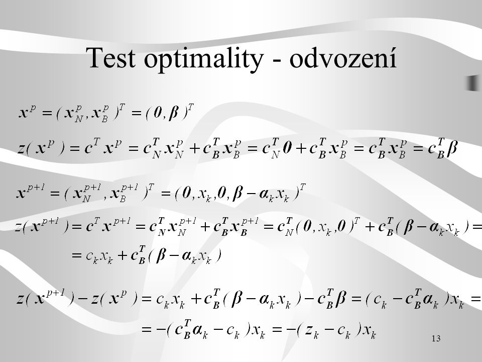 Test optimality - odvození