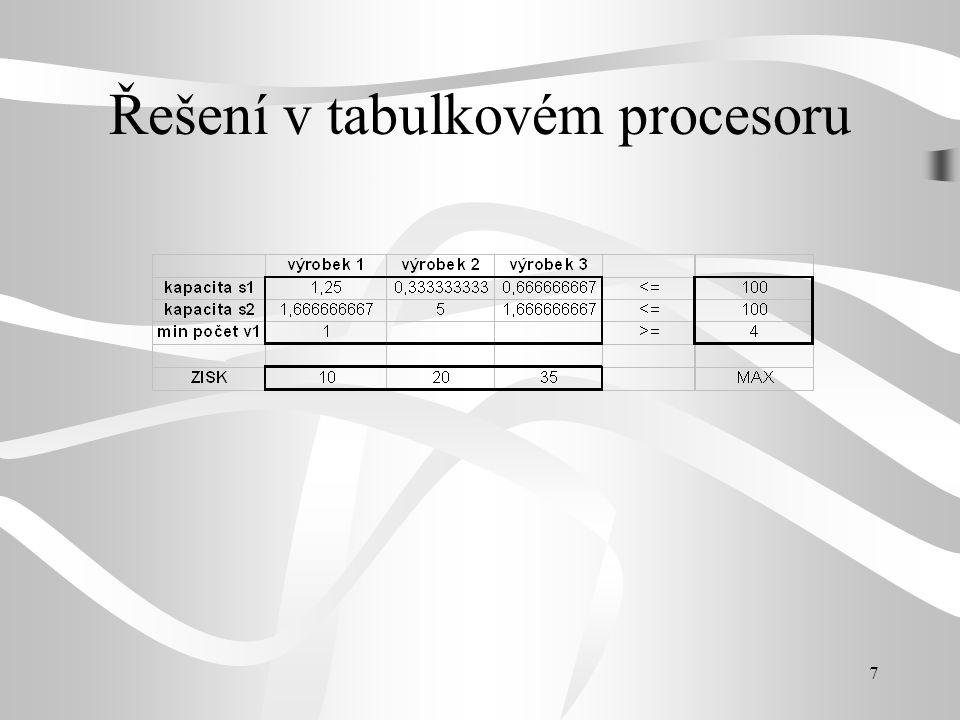 Řešení v tabulkovém procesoru