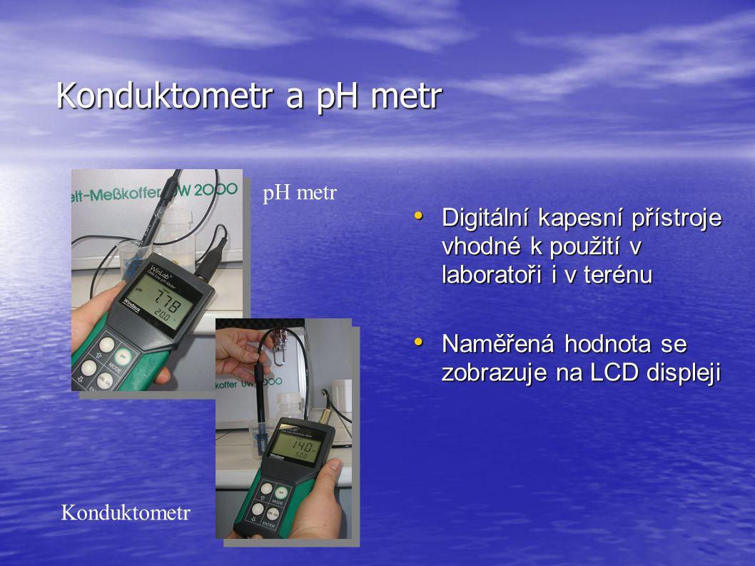 Konduktometr a pH metr Digitální kapesní přístroje vhodné k použití v laboratoři i v terénu. Naměřená hodnota se zobrazuje na LCD displeji.