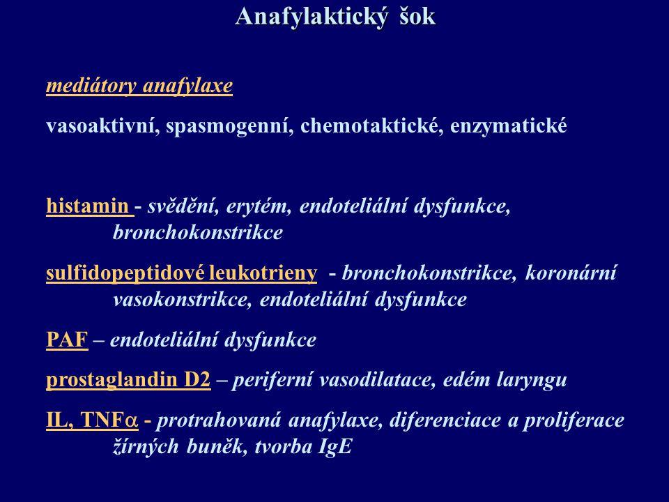 Anafylaktický šok mediátory anafylaxe