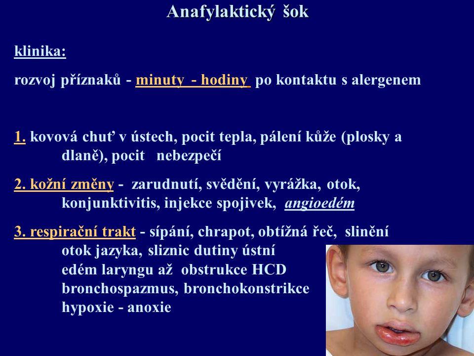 Anafylaktický šok klinika: